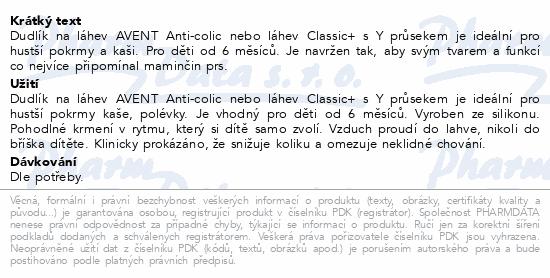 AVENT Dudlík Classic+ průsek Y na kaši 2ks