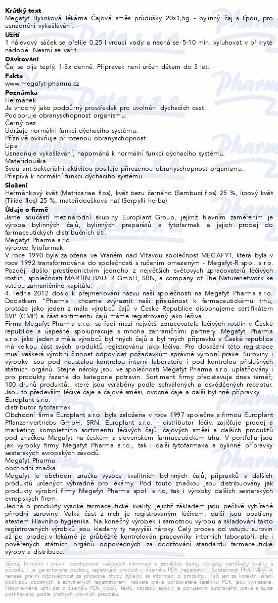 Megafyt Bylink.lékárna Čaj.směs průdušky 20x1.5g