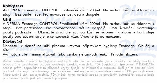 A-DERMA Exomega CONTROL Emolienční krém 200ml