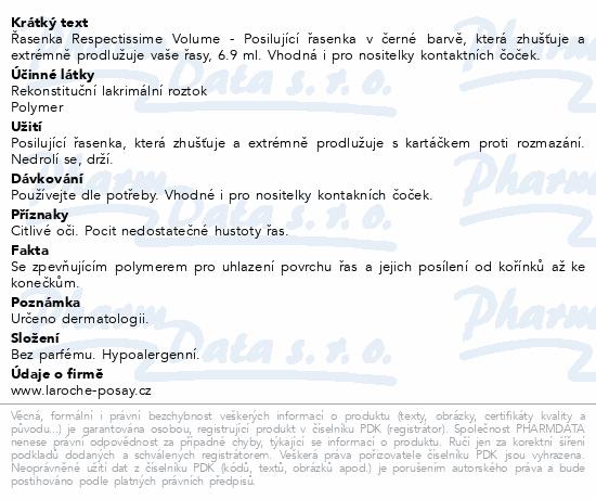 LA ROCHE-POSAY Respectissime Volume řasenka 6.9 ml