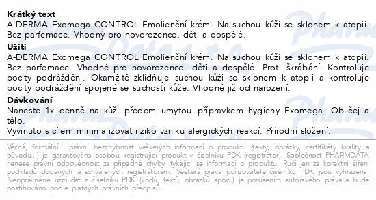 A-DERMA Exomega CONTROL Emolienční krém 50ml
