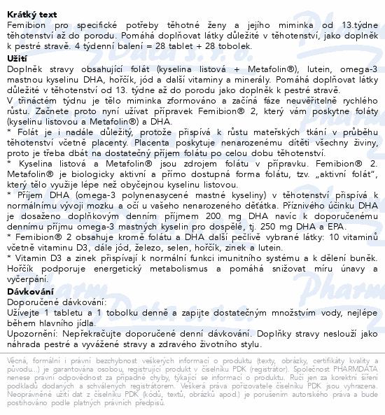 Femibion 2 Těhotenství tbl.28 + tob.28