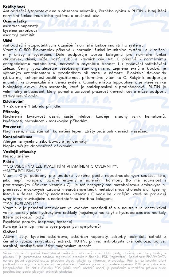 Vitamín C + RUTIN Biokomplex 500mg tbl.60 Dr.Bojda