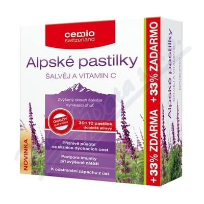 Cemio Alpské pastilky ŠALVĚJ+VIT.C 30+10