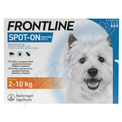 Frontline Spot On Dog 2-10kg pipeta 3x0.67ml